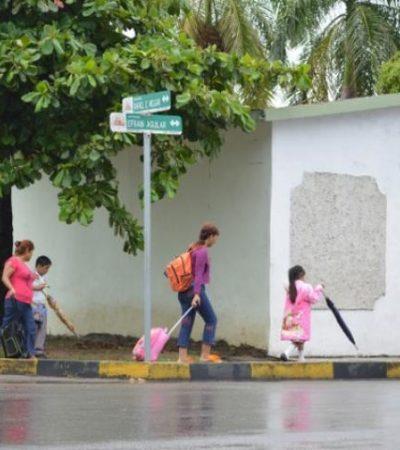 Clases normales en escuelas de Quintana Roo, aunque por lluvias hubo gran ausentismo