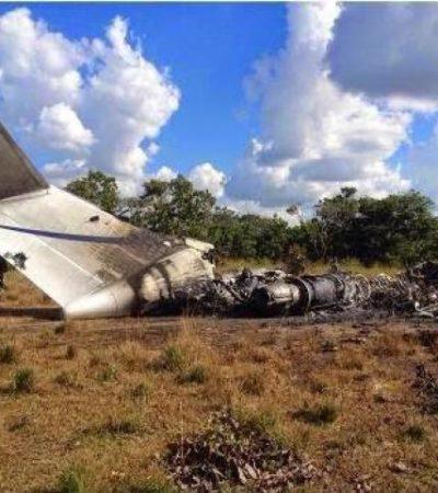 INVESTIGAN POSIBLE RUTA DE DROGAS: Aparece calcinado en pista clandestina de Venezuela avión que salió de Cancún