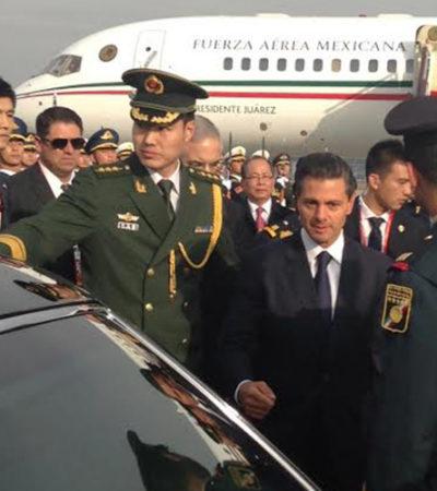 PONE PEÑA NIETO TIERRA DE POR MEDIO A LA POLÉMICA: El Presidente llega a Beinjing para participar en reunión APEC