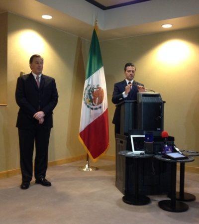 En una escala de su viaje a China, EPN se acuerda de México y dice que lo de Ayotzinapa debe ser llamado a la paz y no a la violencia