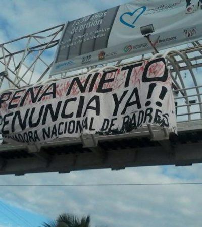 """""""PEÑA NIETO, ¡¡RENUNCIA YA!!"""": Colocan manta en entrada de Cancún para pedir la dimisión del Presidente de México"""