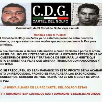 PACTO NARCO EN TAMAULIPAS: El Cártel del Golfo y Los Zetas anuncian alianzan para que haya 'paz'