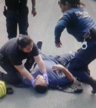 Derrapan en moto mando policial y escolta en Chetumal