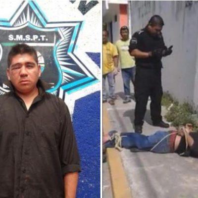 MANIATADO 'COMO PUERCO': Hartos de la inseguridad, vecinos de la SM 64 detienen, golpean y amarran a ladrón