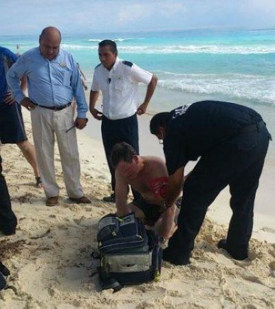 Rescatan a turista de EU que estuvo a punto de ahogarse en Cancún