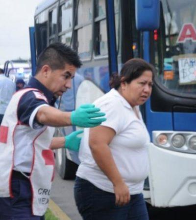 Cinco lesionados por choque entre unidades del transporte público en Cancún