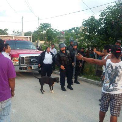 DESALOJO Y ZAFARRANCHO EN CANCÚN: 7 detenidos y 2 policías heridos al expulsar a 22 familias de colonia irregular 'Mario Villanueva' de la R-225
