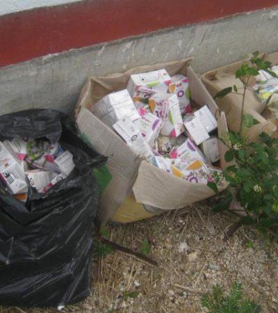 CAMPEA NEGLIGENCIA EN EL DIF: Dejan caducar cajas de leche infantil en Isla Mujeres y las echan al basurero