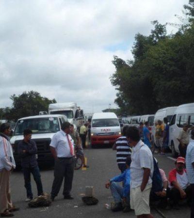CIERRAN CARRETERA POR 12 HORAS: Por conflicto en Campeche, Frente Campesino bloquea la Escárcega-Chetumal