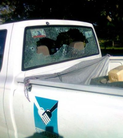 OTRA BALACERA EN EL SUR DE QR: Rafaguean camioneta de Diconsa en un fallido atraco en carretera; habría 2 heridos