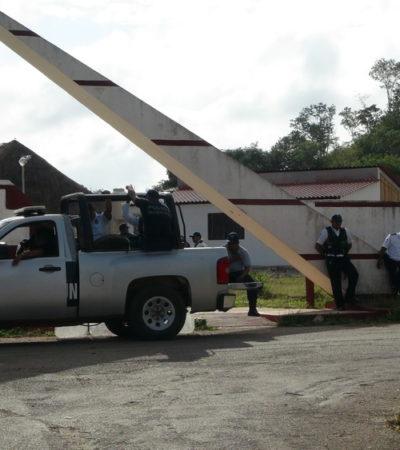 Bloquean policías entrada a la Expomor ante reclamo no atendido de ejidatarios