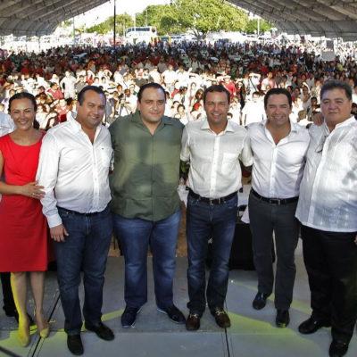 FESTEJA BORGE SU 'CUMPLE': Con precandidatos, el PRI, delegados federales, el Congreso, el TSJ  y hasta taxistas, arma la 'fiesta' en Cancún