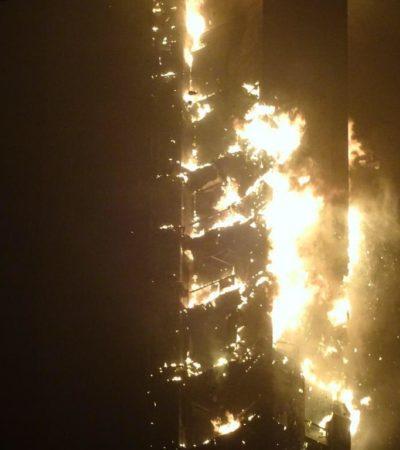 FUEGO EN LAS ALTURAS: Impresionante incendio en rascacielos de 337 metros en Dubai