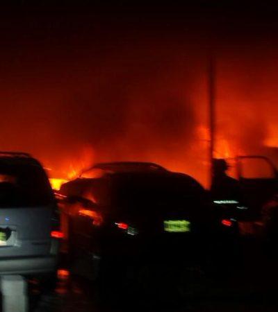 INCENDIO EN TALLER MECÁNICO: 12 automóviles destruidos o dañados por un siniestro en la madrugada en la Región 227 de Cancún