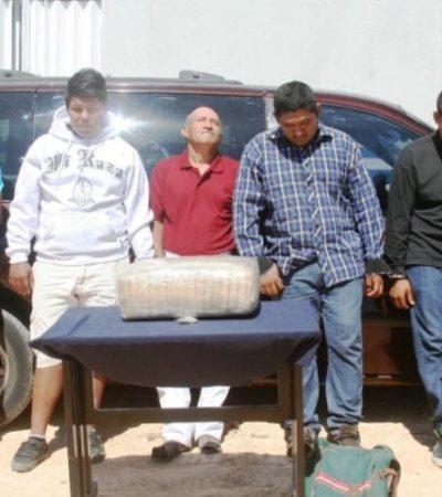 INTERCEPTAN A NARCOTRAFICANTES EN PLAYA: Capturan en filtro policiaco a 5 con un paquete de 7 kilos de marihuana