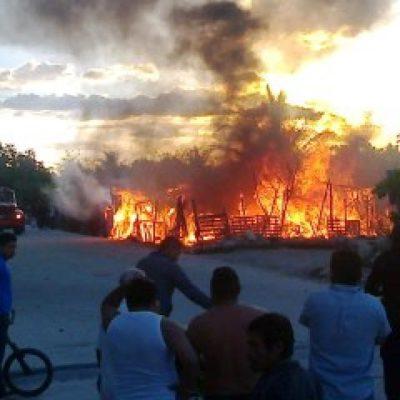 Consume incendio 2 vivendas en zona de invasión de la Región 235 de Cancún