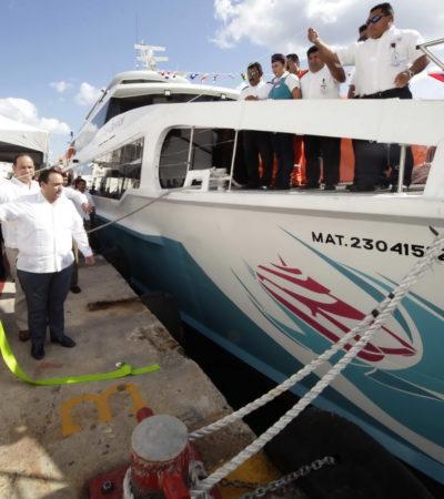 ZARPA BARCOS DEL CARIBE CON 'EMPUJONCITO': Apadrina Borge naviera del tío de Félix González para cubrir la ruta Playa-Cozumel a menor precio