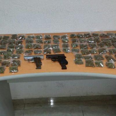 Con marihuana y armas, capturan en Cancún a otros 3 integrantes de 'Los Pelones'