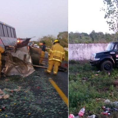 APARATOSO CHOQUE EN LA VÍA CANCÚN-LEONA VICARIO: Choca de frente autobús de pasajeros con camión de Coca-Cola; 9 heridos, saldo preliminar