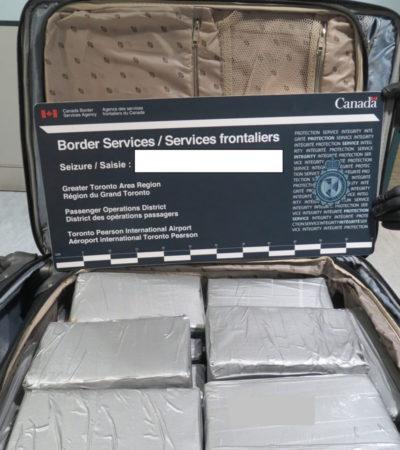 'FALLARON' LOS FILTROS: Atajan en aeropuerto de Toronto maleta con 25 kilos de cocaína en vuelo procedente de Cancún