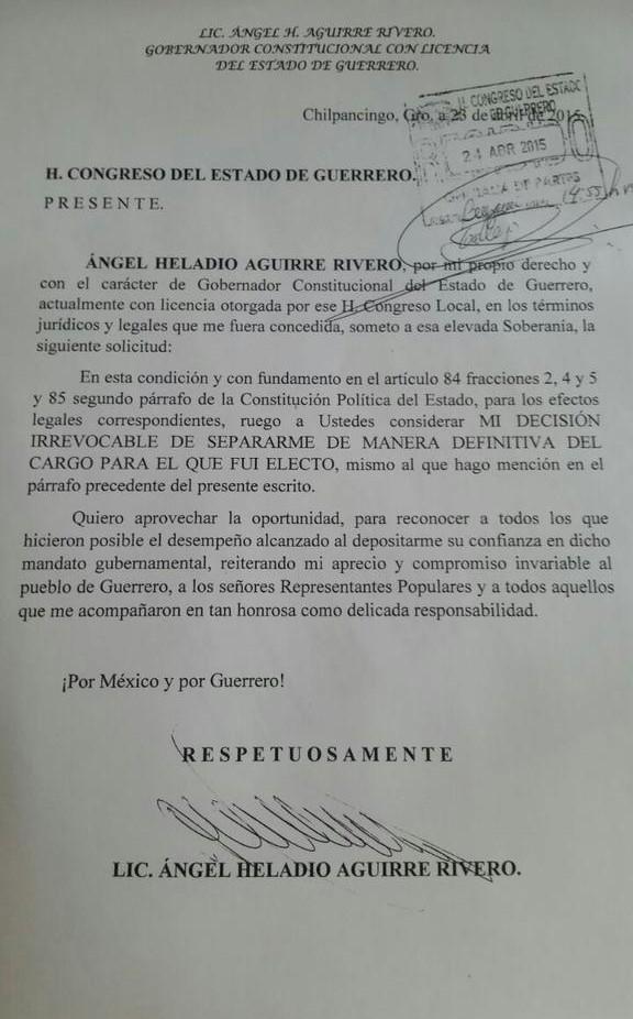 """""""MI DECISIÓN ES IRREVOCABLE"""": Ángel Aguirre pide separación """"definitiva"""" del cargo de gobernador en Guerrero"""