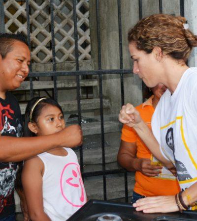 Recorre la perredista Iris Mora la Tabachines de Cancún y plantea la misma seguridad de zona hotelera para toda la ciudad