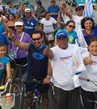 PEDALEA PANISTA POR VOTOS: Festeja Fabiola Ballesteros el Día Internacional de la Bicicleta en Cozumel