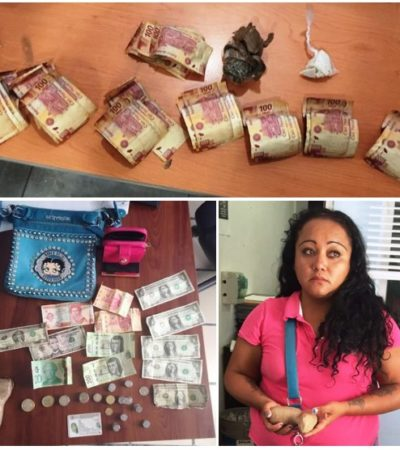 Detienen a mujer que pretendía introducir a la cárcel de Cancún droga y dinero oculta en sus partes íntimas