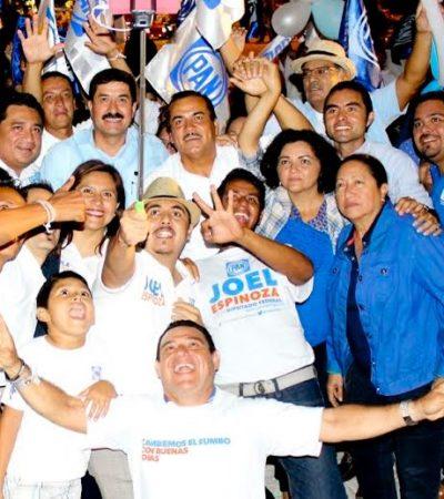 CONFÍAN PANISTAS EN GANAR: Cierran campaña Fabiola Ballesteros y Joel Espinoza en compañía del senador Javier Corral