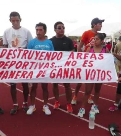 """""""ESTA NO ES MANERA DE GANAR VOTOS"""": Denuncian maltrato de la pista de tartán del 'Toro' Valenzuela por cierre de campaña de candidato"""