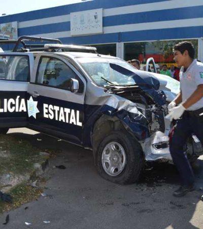 PROVOCA PATRULLA APARATOSO ACCIDENTE: Policía al volante choca en Chetumal con saldo de al menos 5 heridos