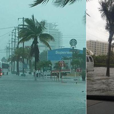 AGUACEROS TRASTOCAN EL NORTE DE QR: Caótico domingo por colapso de infraestructura en Cancún; se inundan calles y se paraliza el turismo