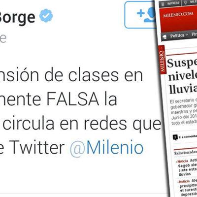 """NO HAY SUSPENSIÓN DE CLASES: Desmiente Borge información falsa difundida por 'clonación' de su Twitter; """"clonaron al clonador"""", ironizan"""