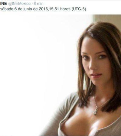En el clímax electoral, 'hackean' cuenta oficial del INE en Twitter y cuelan sugestiva foto de una modelo