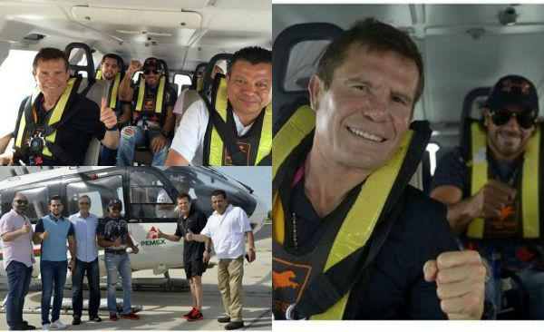 """""""EL VUELO LO PAGÓ PEPE GÓMEZ"""": Dice Pemex que no es suyo el helicóptero en el que pasearon a Julio César Chávez en Campeche"""
