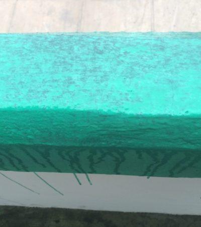 ASÍ DE CHAFA, EL MANTENIMIENTO EN ESCUELAS: Llueve en Cancún y se deslava la pintura en secundaria