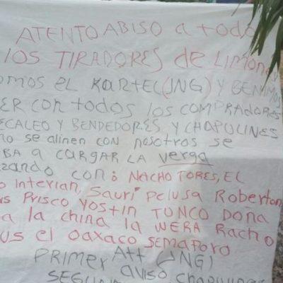 """""""ATENTO AVISO… VENIMOS A BARRER A LOS QUE NO SE ALINEEN"""": Aparece narcomanta en el poblado de Limones"""