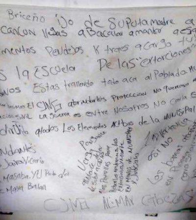 AMENAZAN A POLICÍAS EN BACALAR: Aparece narcomanta con advertencias contra mandos de Seguridad Pública
