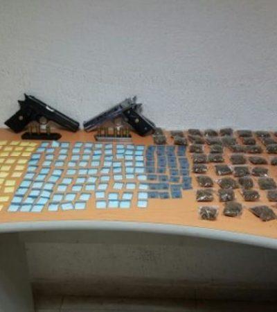 Con drogas y armas, capturan a 5 narcomenudistas en la Zona Hotelera de Cancún