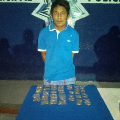 Capturan a narcomenudista con 40 dosis de marihuana en la SM 66 de Cancún