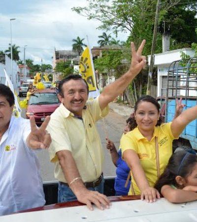 Con una gran caravana, Domingo Flota cierra campaña en FCP, corazón de la maya