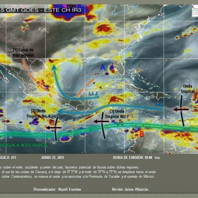 Anticipan lluvias en varios estados del Sureste por onda tropical al sureste de la Península de Yucatán