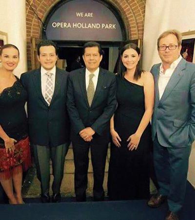 Triunfa tenor chetumaleño en el Opera Holland Park de Londres; funcionarios de QR acuden a debut