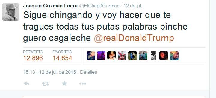 Llama Donald Trump al FBI para quejarse de supuestas amenazas de 'El Chapo'… vía Twitter