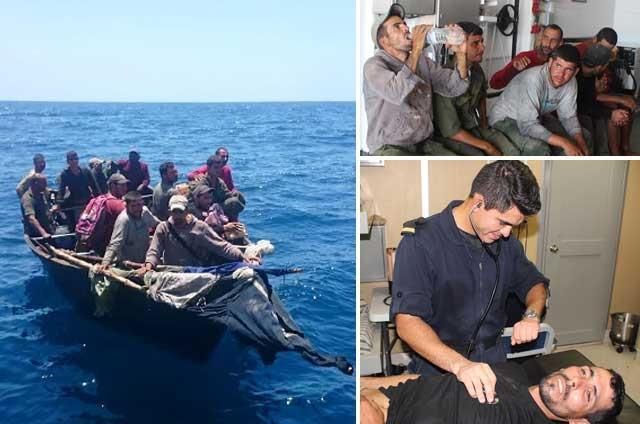 Rescata la Marina a 13 cubanos a bordo de una embarcación hechiza frente  costas de QR