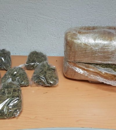 Detienen en Cancún a un hombre con casi 5 kilos de marihuana