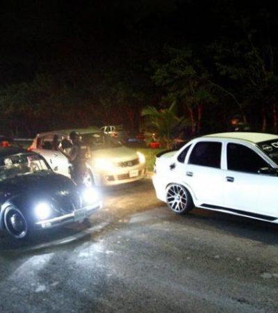 DESBARATAN CARRERAS CLANDESTINAS: Operativo policiaco en la entrada a Calderitas exhibe peligrosa actividad nocturna
