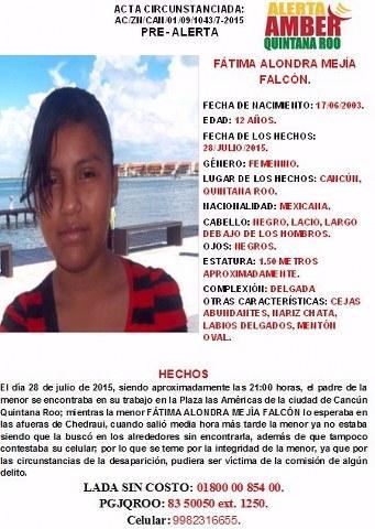 Activan alerta Amber por la desaparición de una menor cuando se dirigía a Plaza Las Américas de Cancún