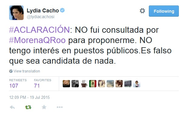 """""""NO TENGO INTERÉS EN PUESTOS PÚBLICOS"""": Aclara Lydia Cacho que no fue consultada por Morena para eventual candidatura"""