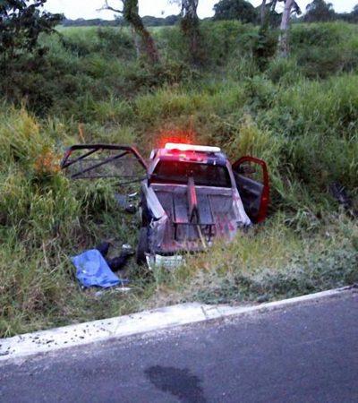 PERSECUCIÓN MORTAL EN LA CARRETERA: Muere policía estatal que iba tras un trailero sobre la vía Escárcega-Chetumal; otros 2 quedan heridos